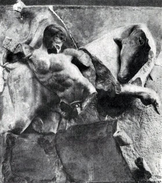 Метопа храма Зевса в Олимпии.