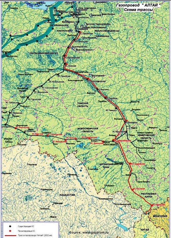 Схема трассы газопровода «