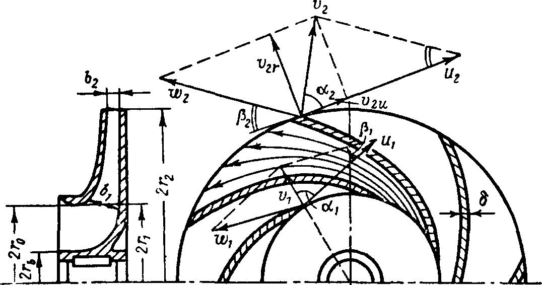 Эскиз рабочего колеса лопастного насоса
