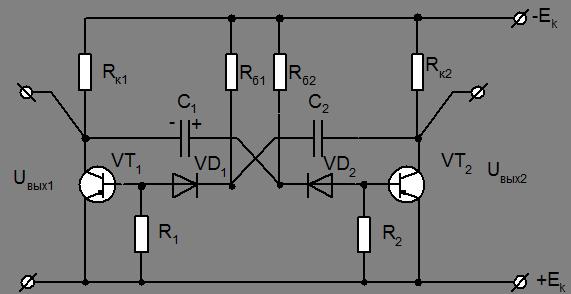 Схема мультивибратора с регулировкой частоты на транзисторах фото 206