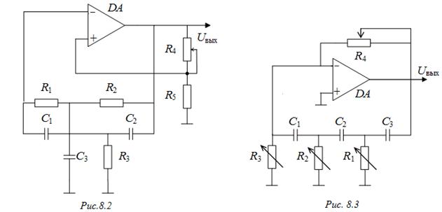 Схема RC-генератора с мостом