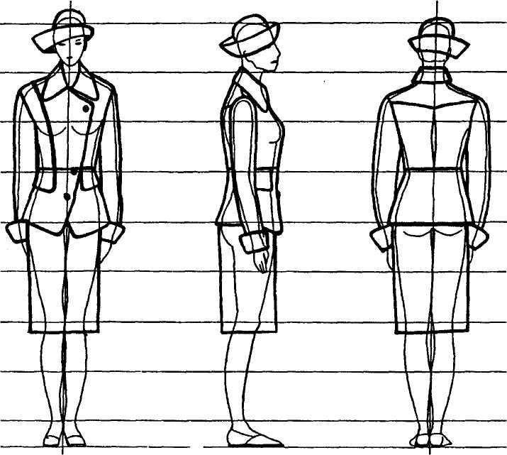 Эскиз одежды спереди и сзади