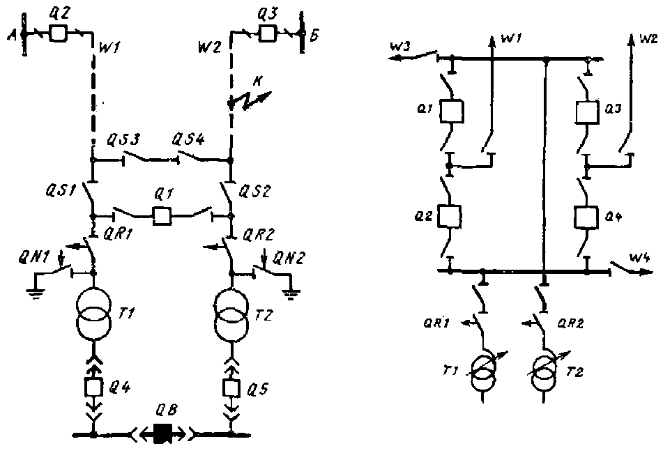 В) Схемы проходных подстанций