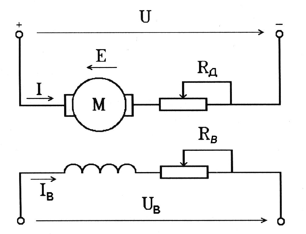 Схема включения ДПТ с НВ.
