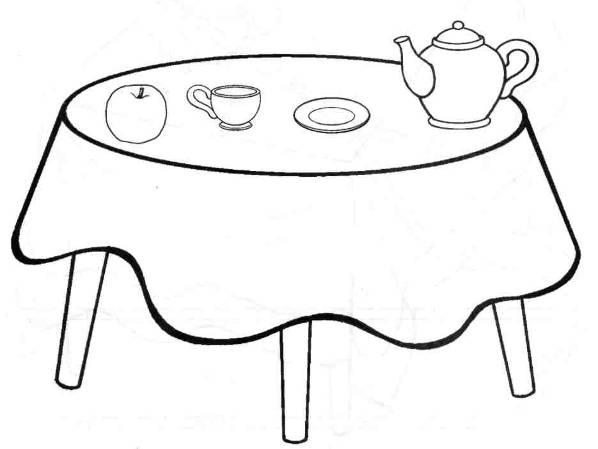 Рисунок стол с посудой