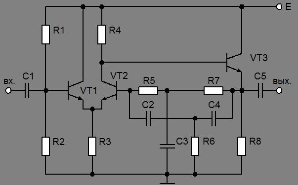 Схема избирательного усилителя