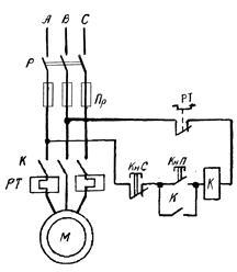 Схема прямого пуска электродвигателей