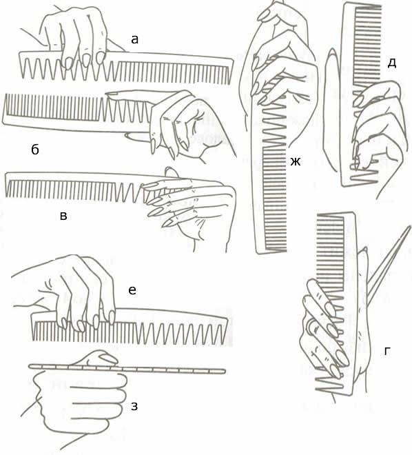 Как держать расческу при стрижке