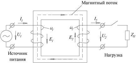 Схема соединения однофазного трансформатора напряжения
