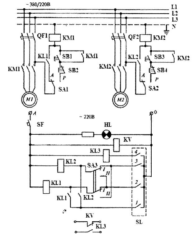 Электрическая схема включения двух насосов