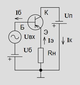 Принцип работы биполярного транзистора в схеме6