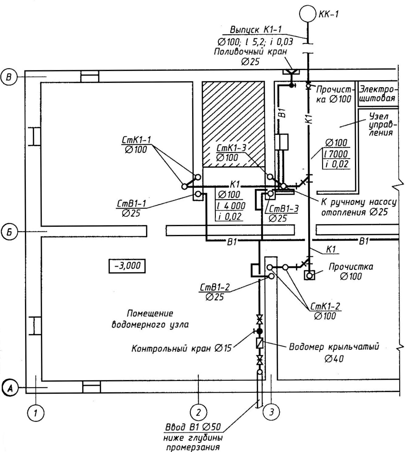 поливочный водопровод чертеж схема