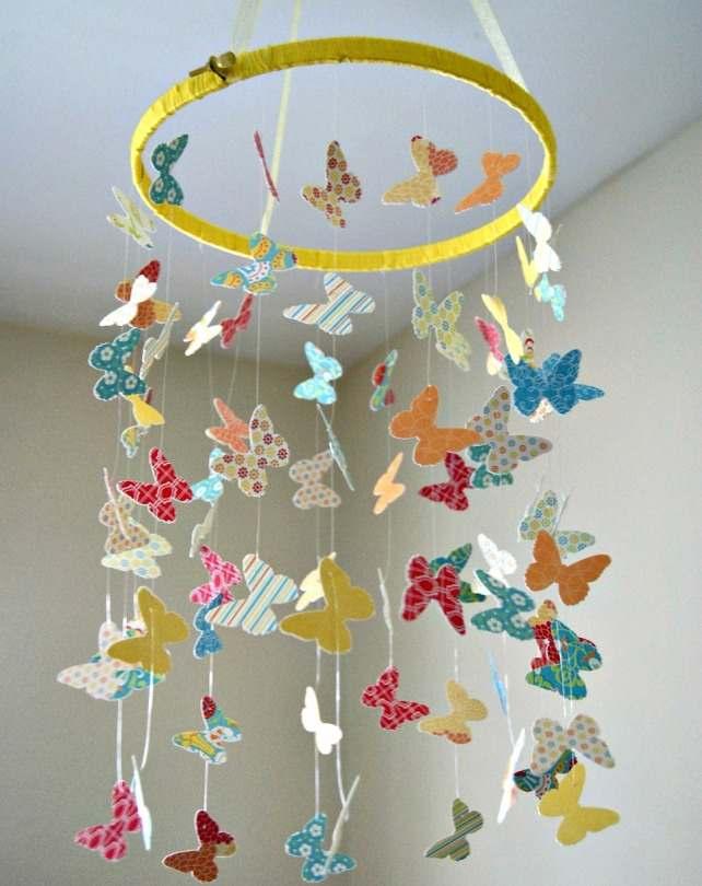 Подвеска на потолок с бабочками своими руками