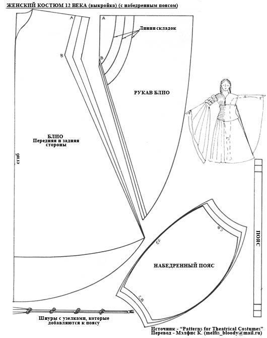 Женское средневековое платье выкройки