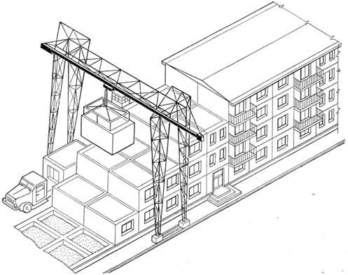 Монтаж жилого дома из объемных