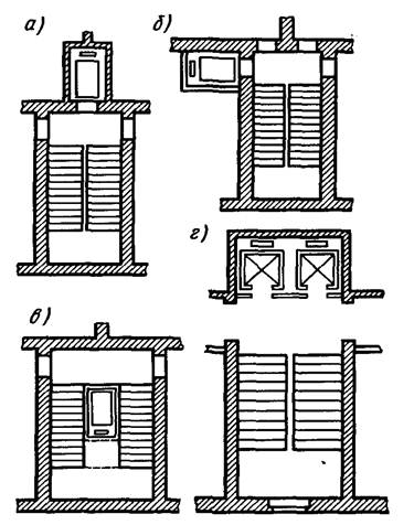 Схемы размещения лифтовых шахт