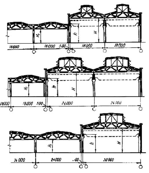 Схемы одноэтажных промышленных