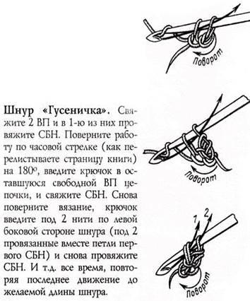 длины шнура гусенички.