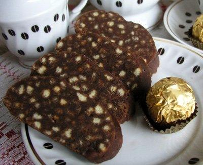 Шоколадный рулет из печенья рецепт с фото