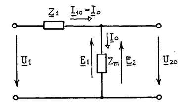 Схема трансформатора в режиме холостого хода