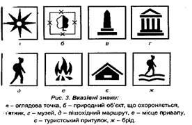 Вказівні знаки застосовуються також для позначення маршрутів  спортивно-оздоровчого туризму та рекреаційних об ктів