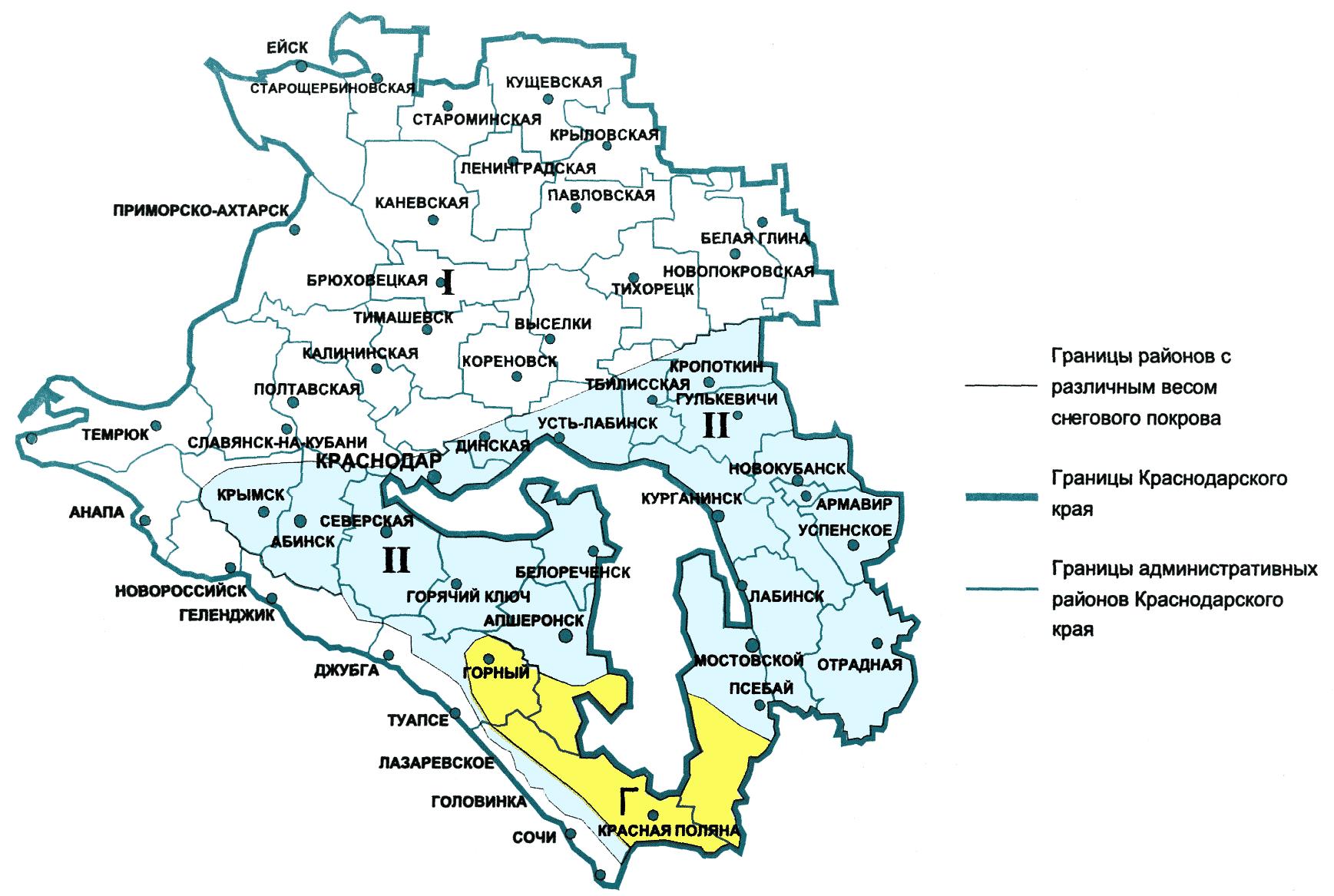 Карта 1. районирование территории краснодарского края по рас.