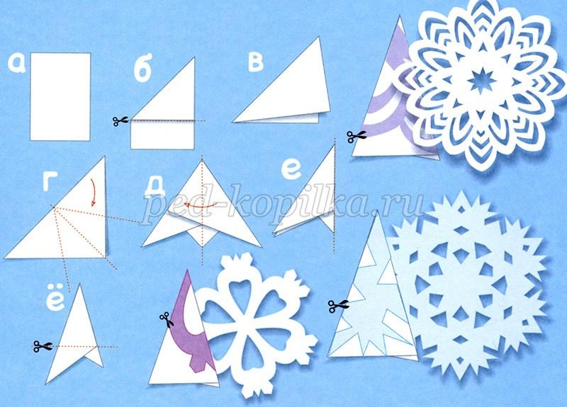 Простые снежинки из бумаги своими руками пошагово