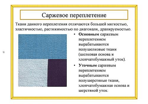 В равноплотных саржевых тканях
