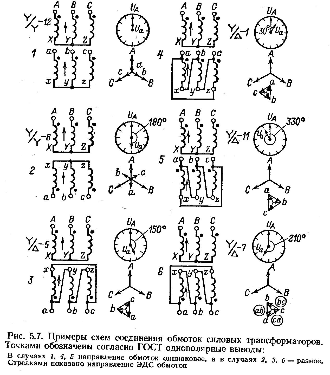 Схемы соединения трансформаторов тока в треугольник