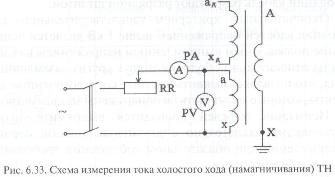 Схемы холостого хода силовых трансформаторов