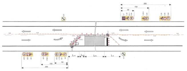 Схема организации движения и ограждение места производства дорожных работ