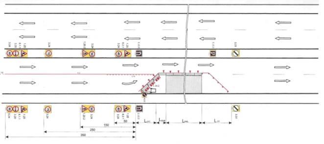 Схема ограждения дорожных работ в населенных пунктах