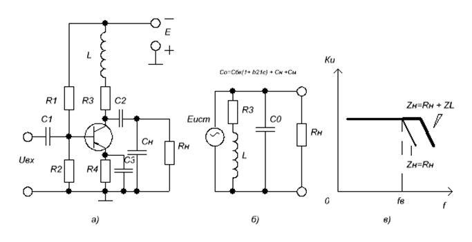 а - транзисторный каскад ;