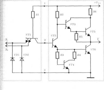Схема базового элемента ТТЛШ.