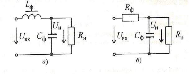Схемы LC-фильтра (а) и