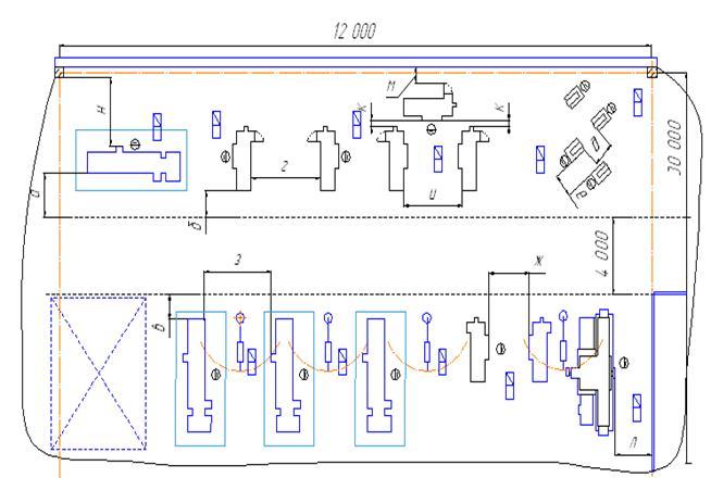 Схема расположения станков