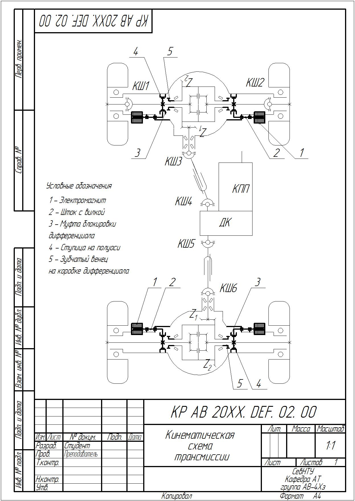 Составление схемы привода машины