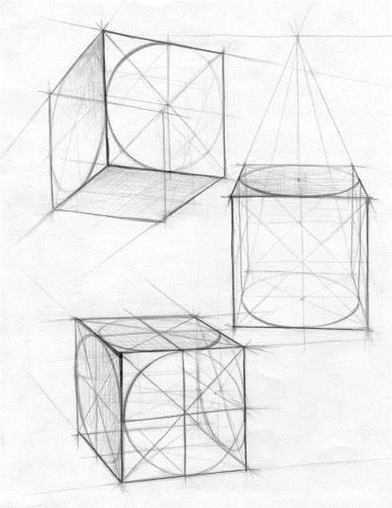 Академический рисунок построение куба
