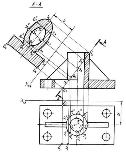 Построение натуральной величины наклонного сечения детали с шестиугольником