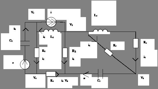 Методика выполнения курсовой работы Студопедия Все методические указания будут иллюстрироваться на примере анализа схемы варианта 24 рис 1 24 Эта схема с направлениями токов нумерацией узлов и