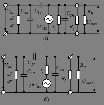 Схема замещения каскада ОИ