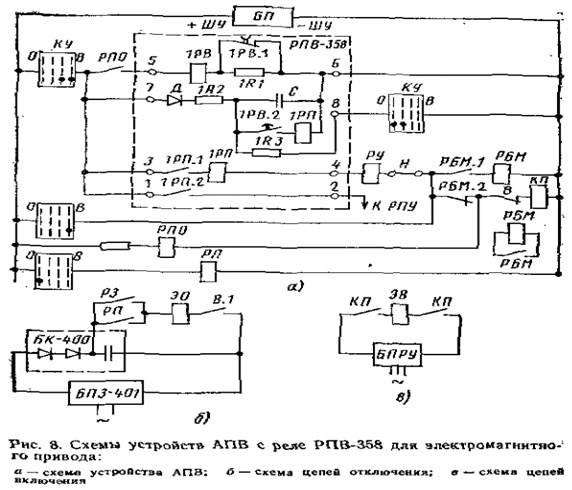 8 дана схема с реле РПВ-358