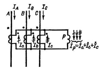 Схема подключения трансформаторов тока нулевой последовательности