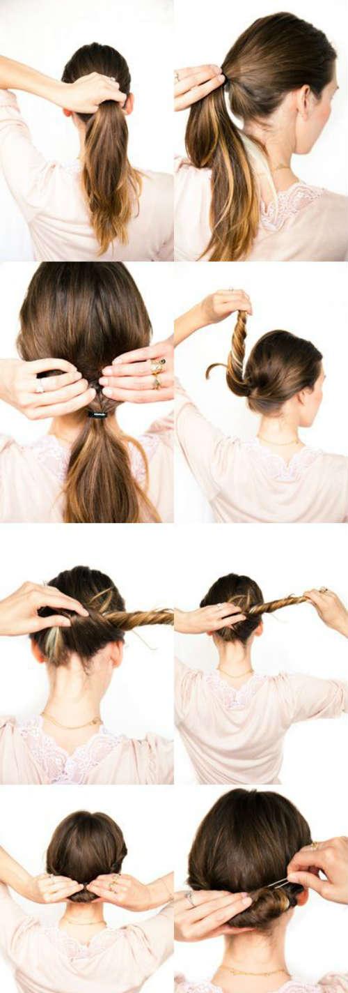 Домашние прически для средних волос своими руками фото
